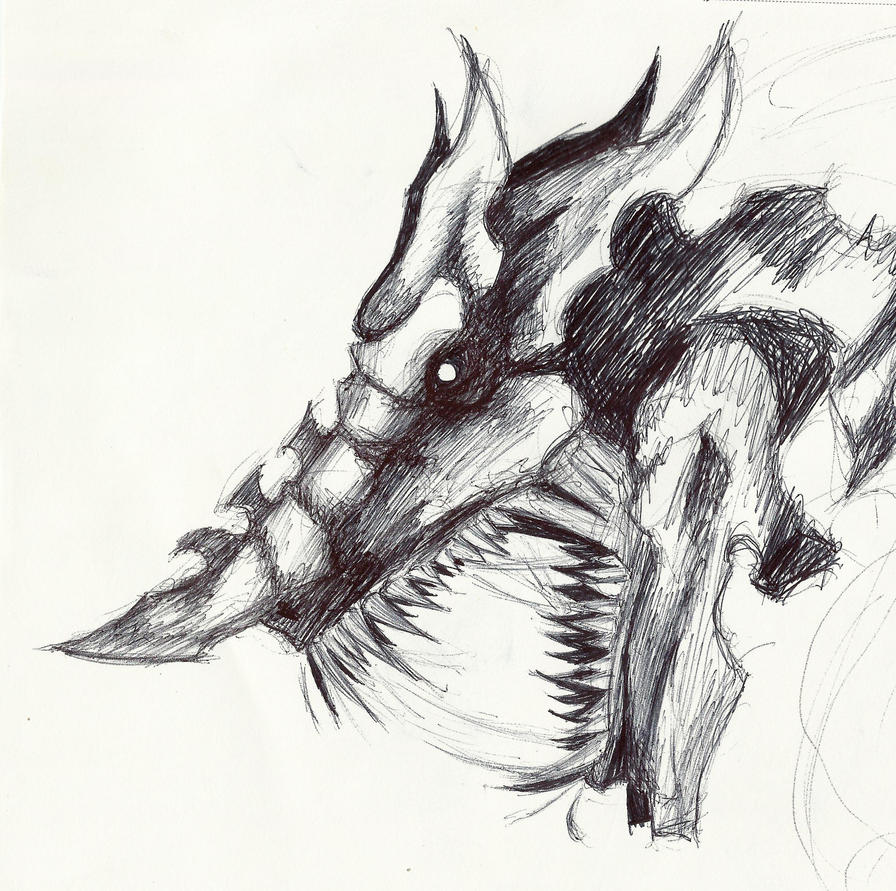 Dragon head sketch by ODDxFOX on DeviantArt