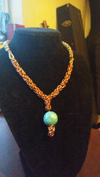 teal and half chain necklace by SchrodingersDice