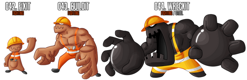 Fakemon: 42 - 44 by DrCrafty