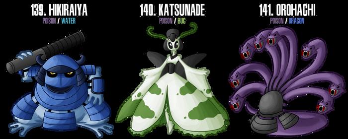 Fakemon: 139 - 141 - Legendary Ninja trio by DrCrafty