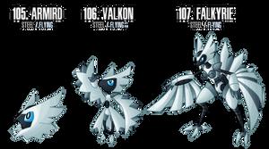 Fakemon: 105 - 107 by DrCrafty