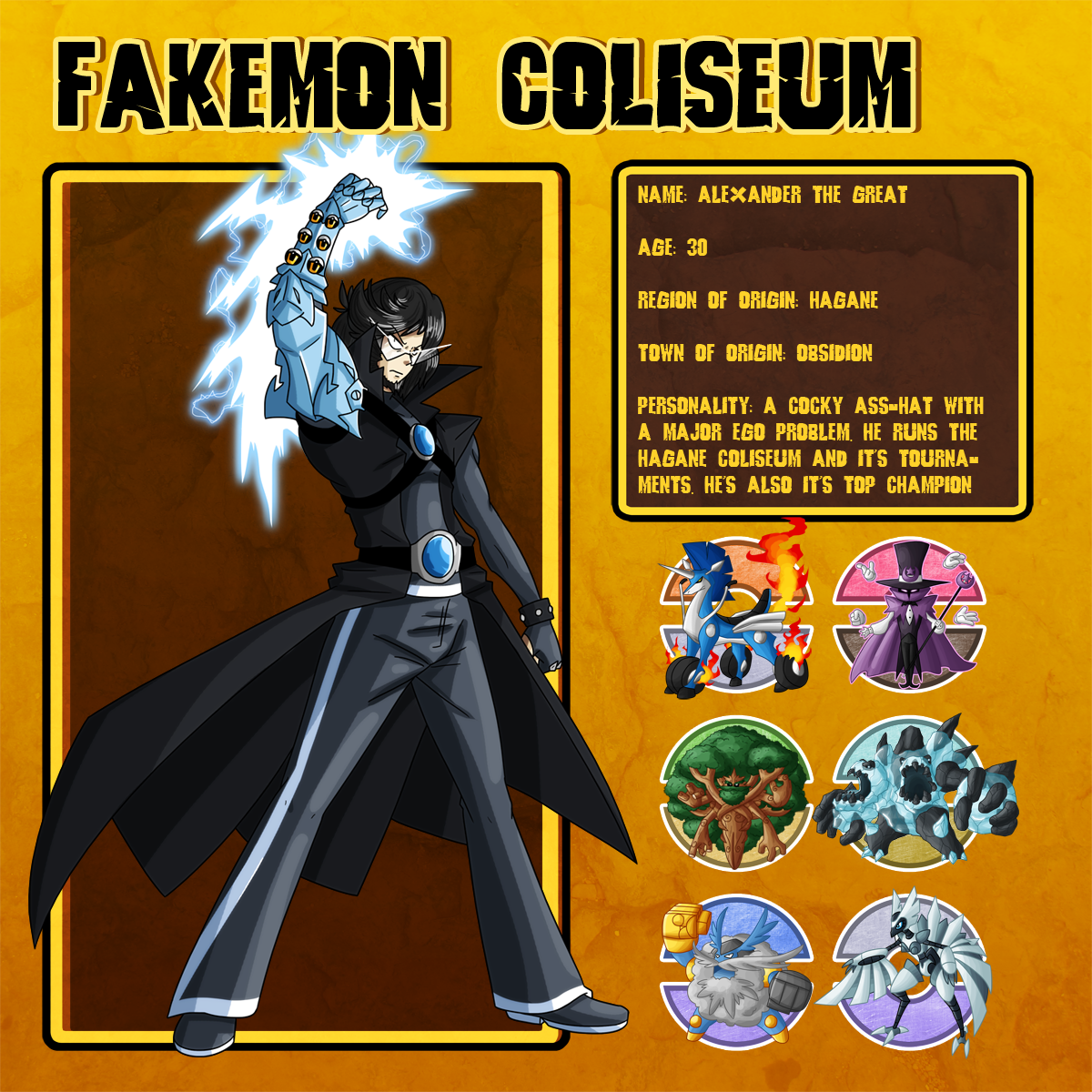 Fakemon Coliseum: Alexander - Bronze Team by MTC-Studios