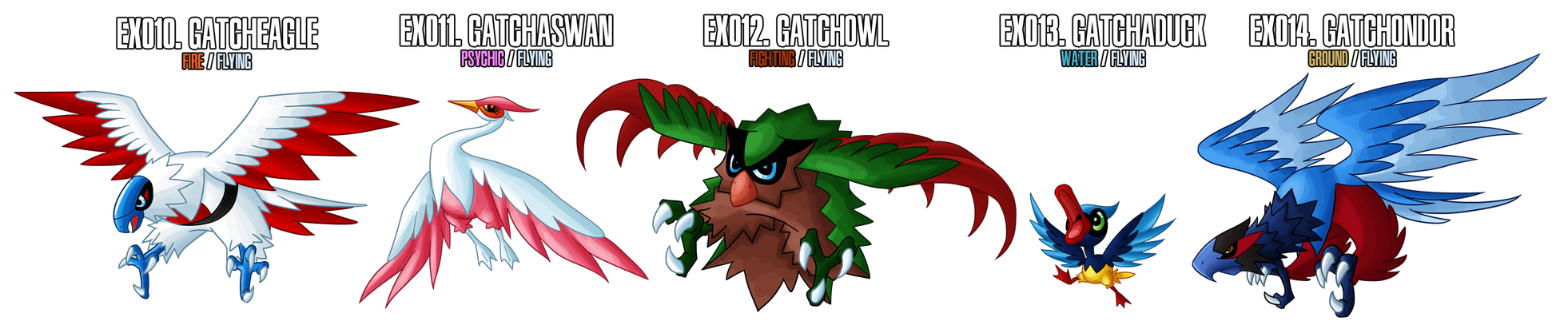 Fakemon: EX010 - EX014 by MTC-Studio