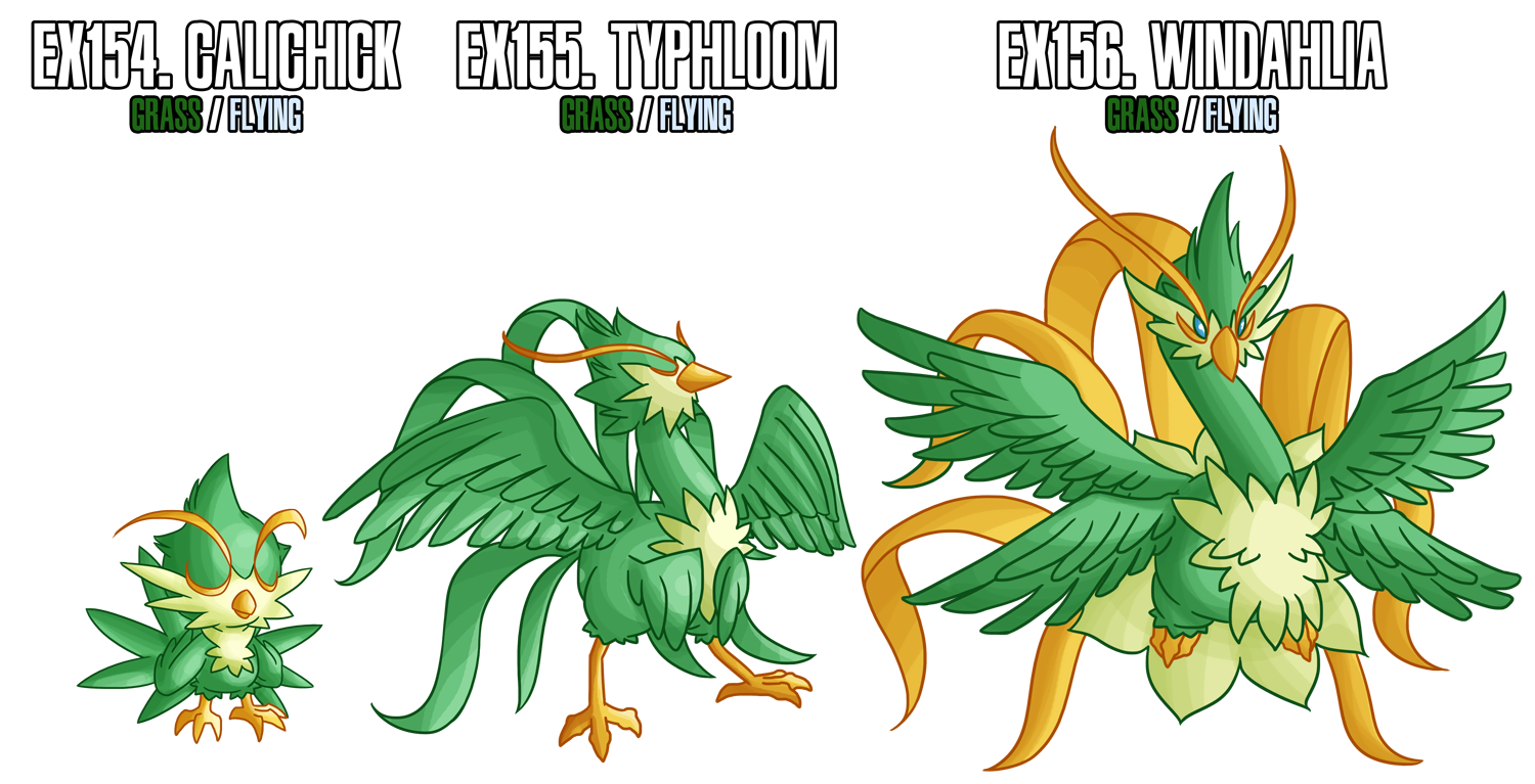 Fakemon: EX154-EX156 Alternate Grass starters 2 by MTC-Studio