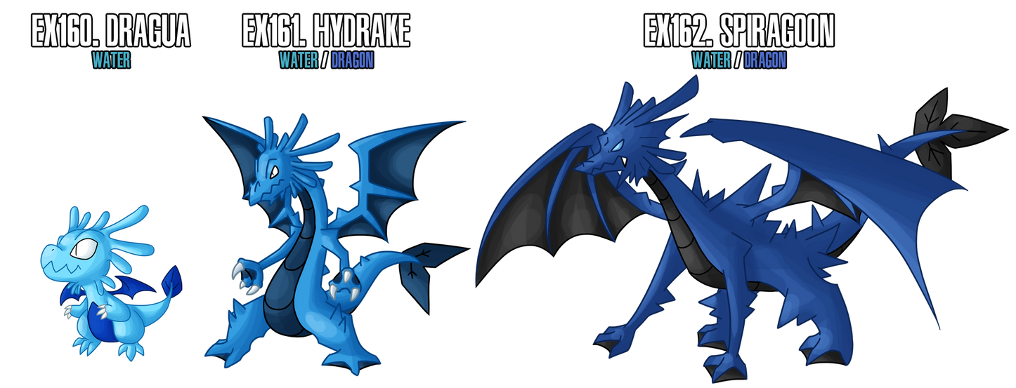 Fakemon: EX160 - EX162 Alternate Water starters 2 by MTC-Studios