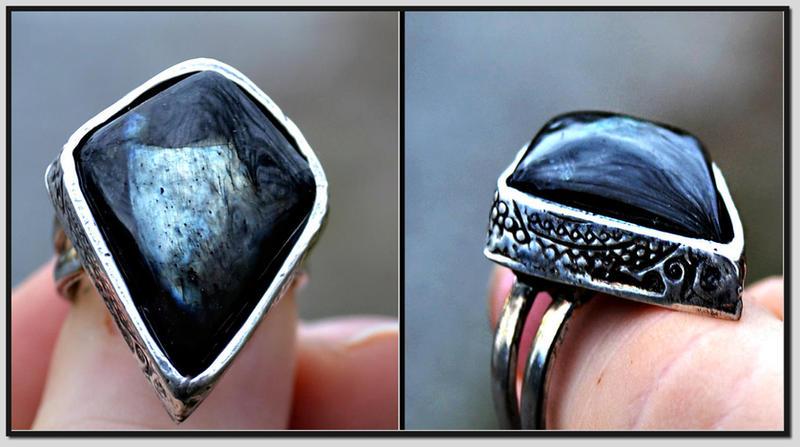 Black Moonstone ring by songofabanshee