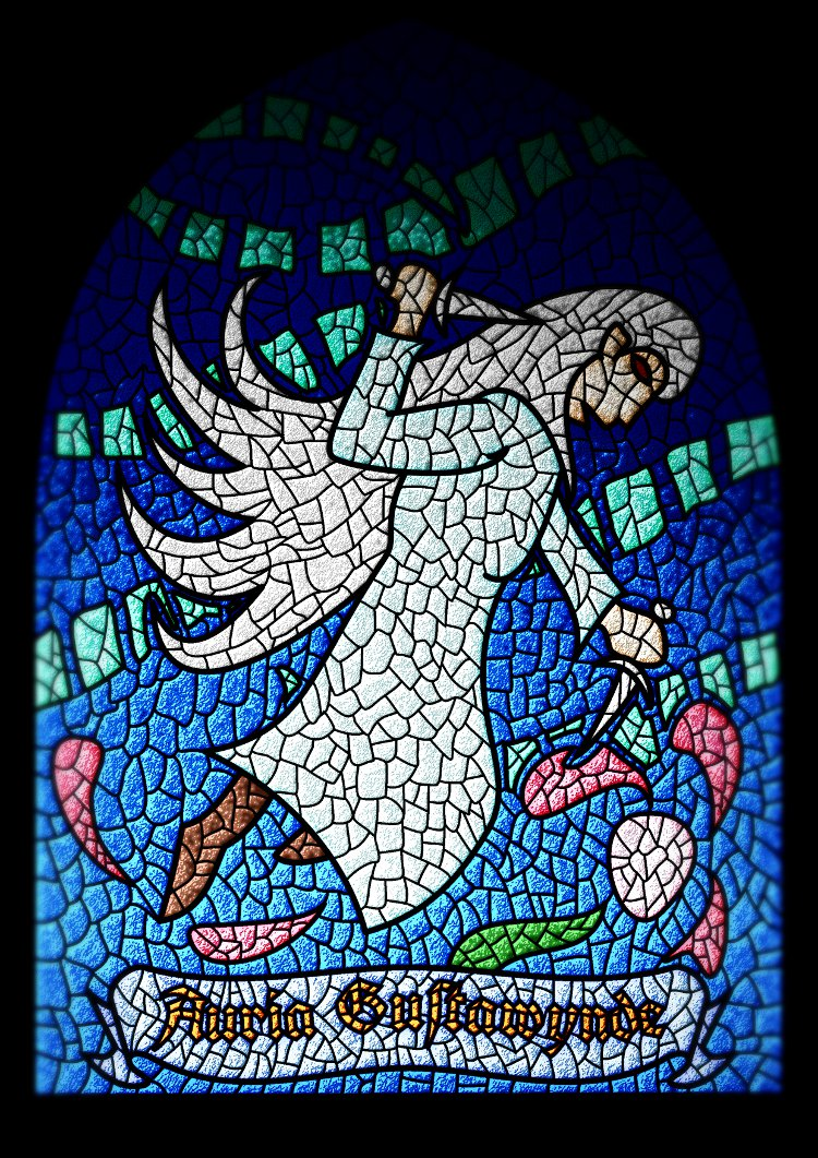Auria Gustawynde in a stained-glass window by wwwwolf