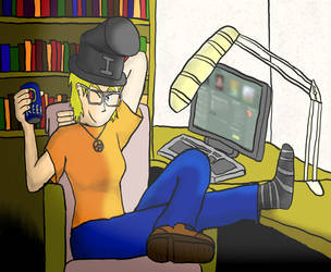 Self-portrait: Idiot Hat. Reeb. by wwwwolf
