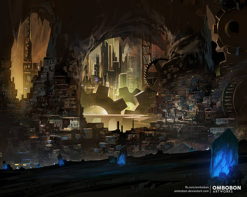 Commission Work - City Beneath a Mountain