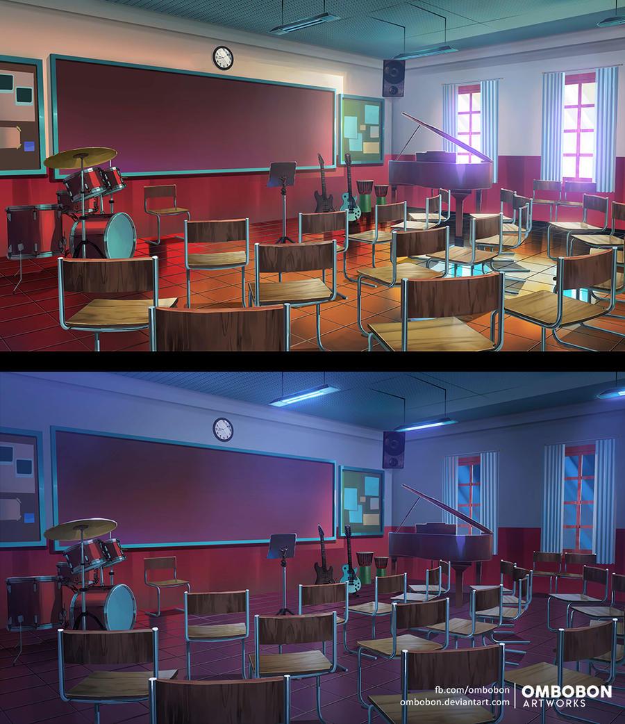 Commission Visual Novel Background Music Room By Ombobon On Deviantart