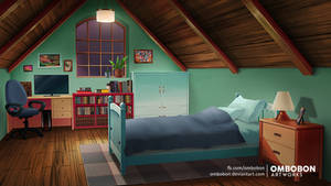 Anime VN Background - Attic Room by ombobon
