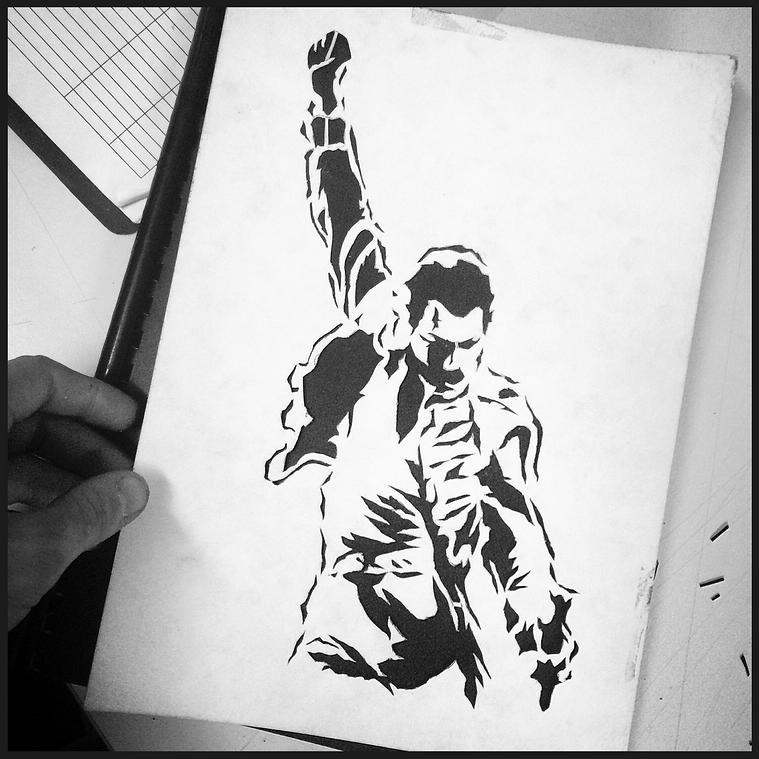Freddie Mercury stencil by Wator