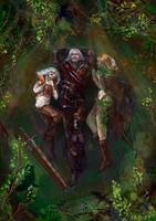 Brokilon - Ciri, Geralt and dryad Braenn by AyeriR