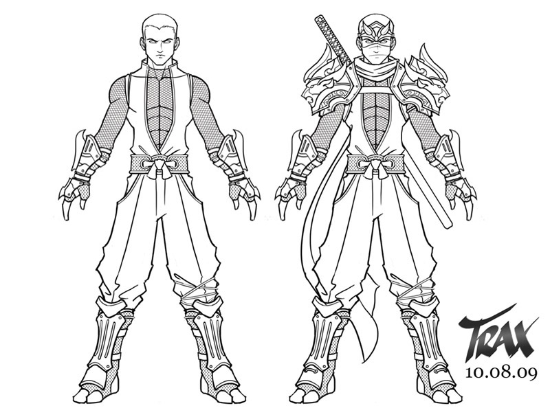Anime Male Ninja Outfits Sketch Coloring Page