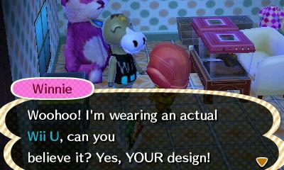 Animal Crossing New Leaf- Winnie wears a Wii U by