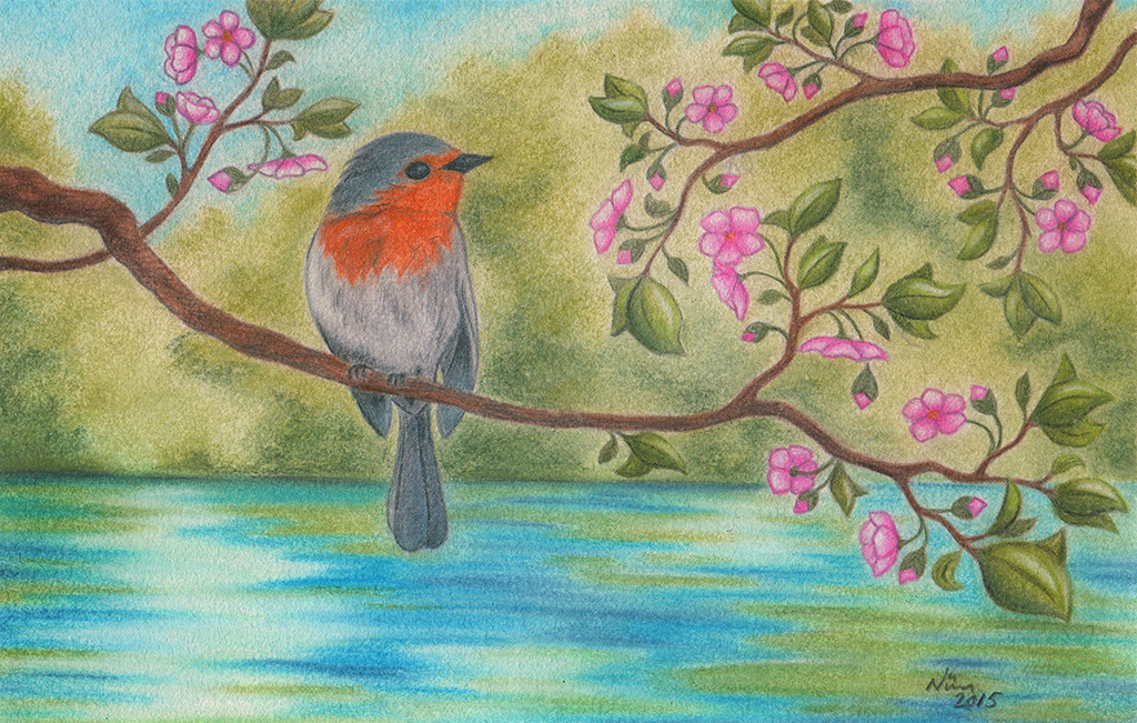 Little Bird And Pink Flowers by Neatha