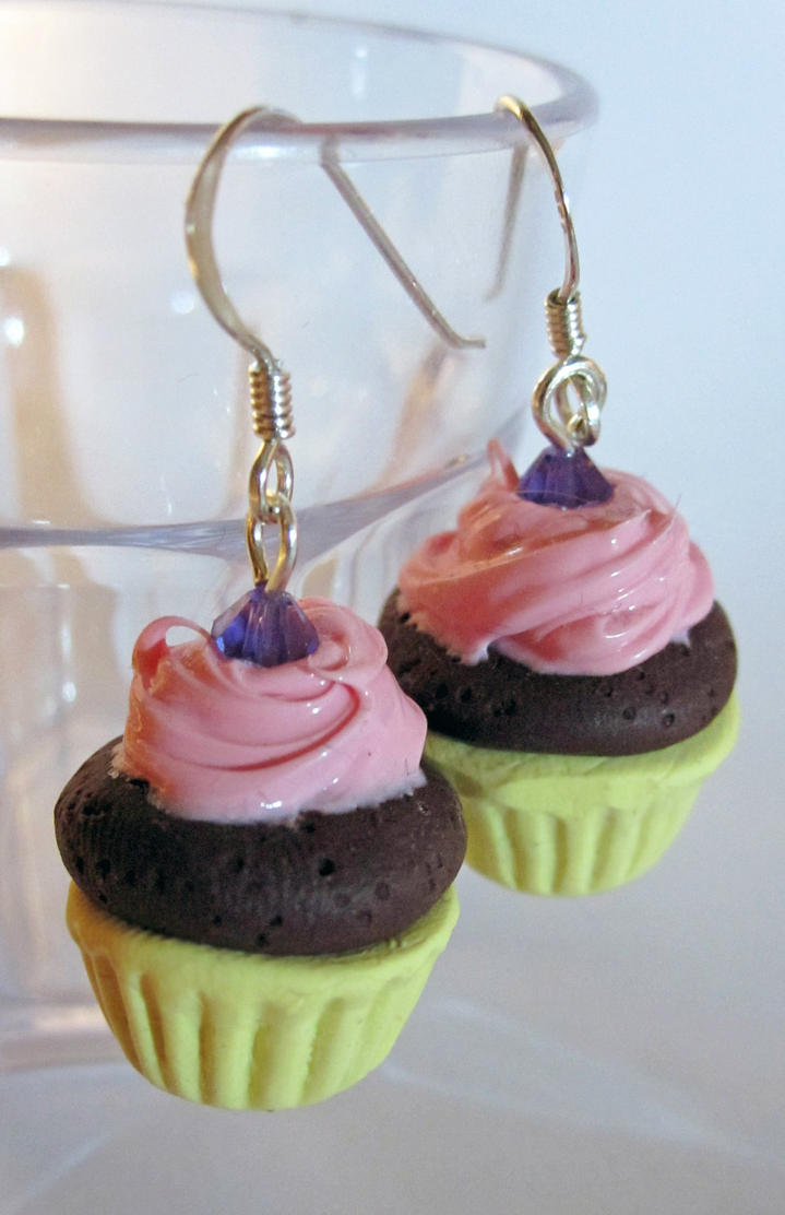 Pink Icing Cupcake Earrings by egyptianruin