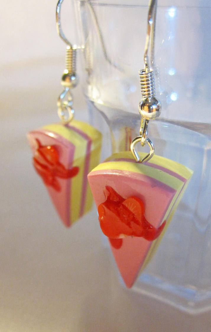 Strawberry Cheesecake Earrings by egyptianruin