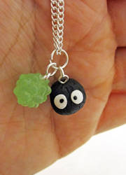 Soot Sprite Green Necklace by egyptianruin