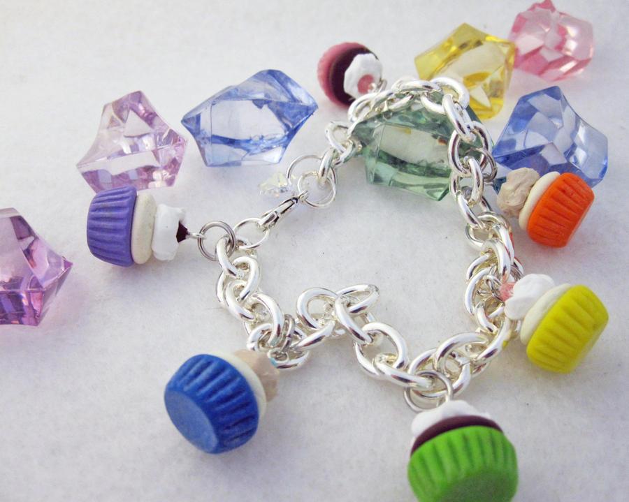 Sparkly Cupcake Charm Bracelet by egyptianruin