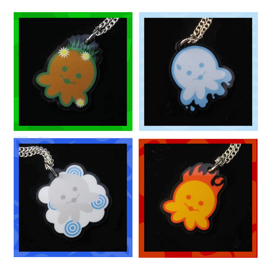 Elemental Octopus Necklaces by egyptianruin