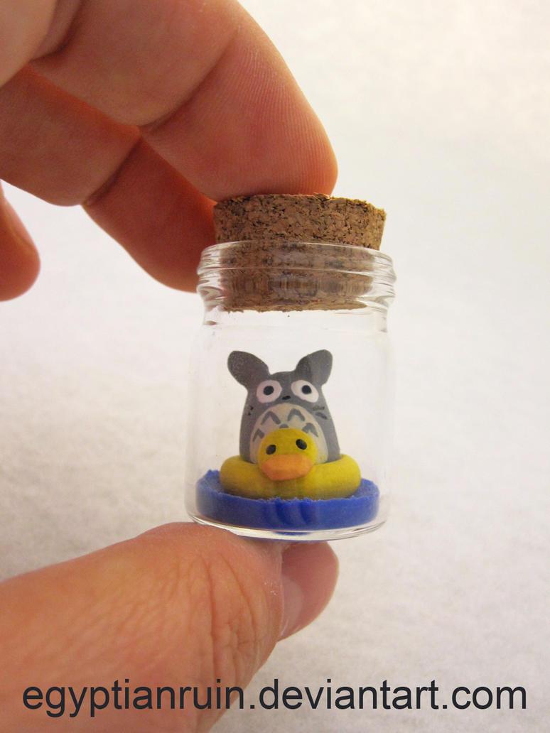 Totoro Can't Swim! Bottle Art by egyptianruin