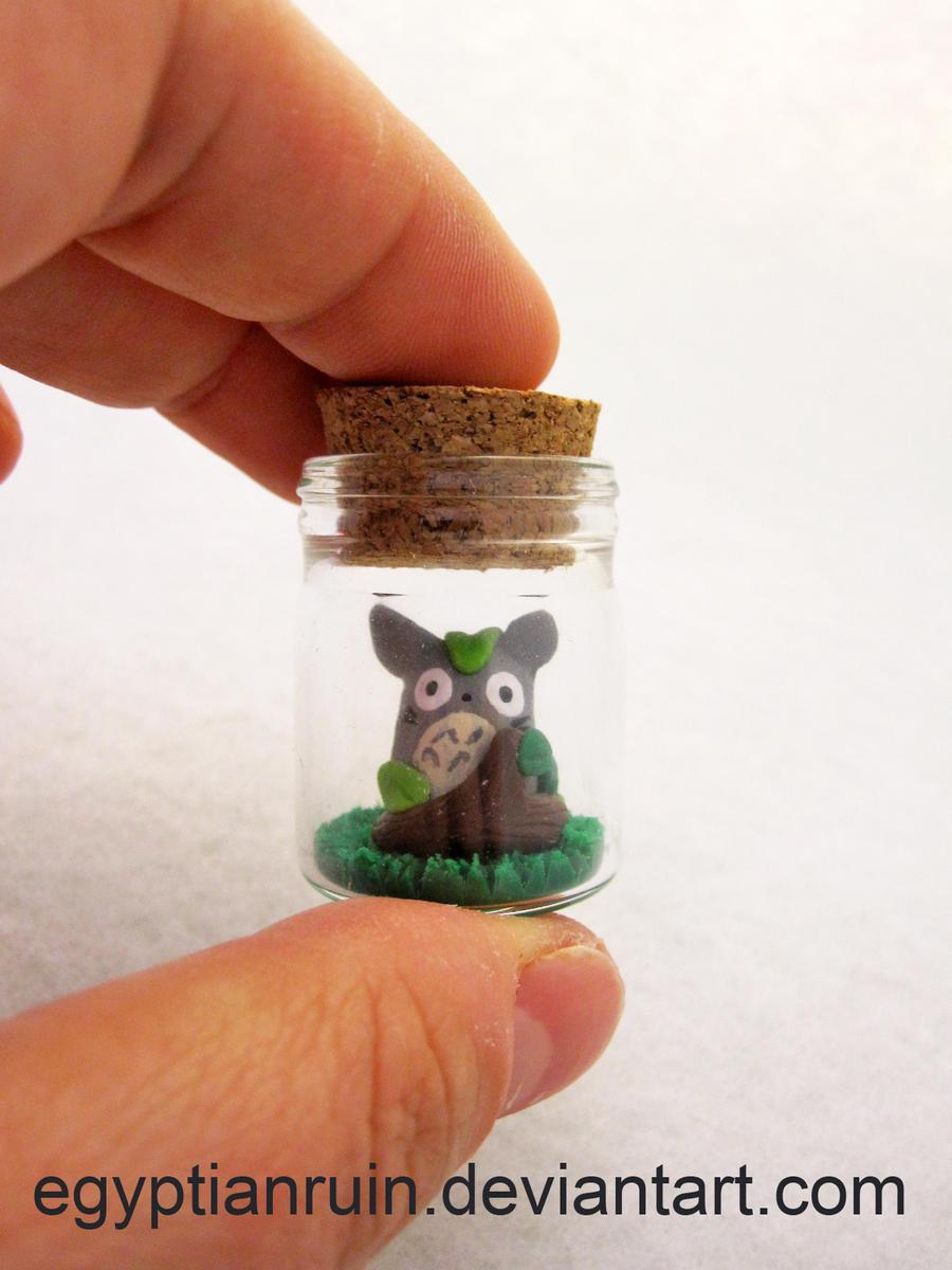 Hide and Seek Totoro Bottle Art by egyptianruin