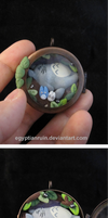 Totoro Shadow Box Locket by egyptianruin