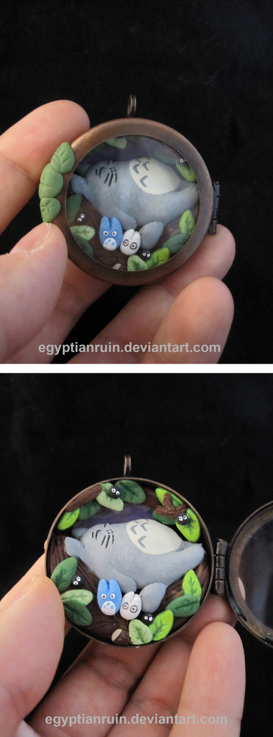 Totoro Shadow Box Locket by egyptianruin