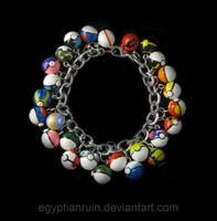 Commission: 26 Pokeball Charm Bracelet by egyptianruin