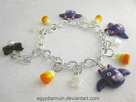 Halloween Bat and Candy Corn Spoopy Pearl Bracelet