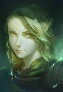 female portrait -green