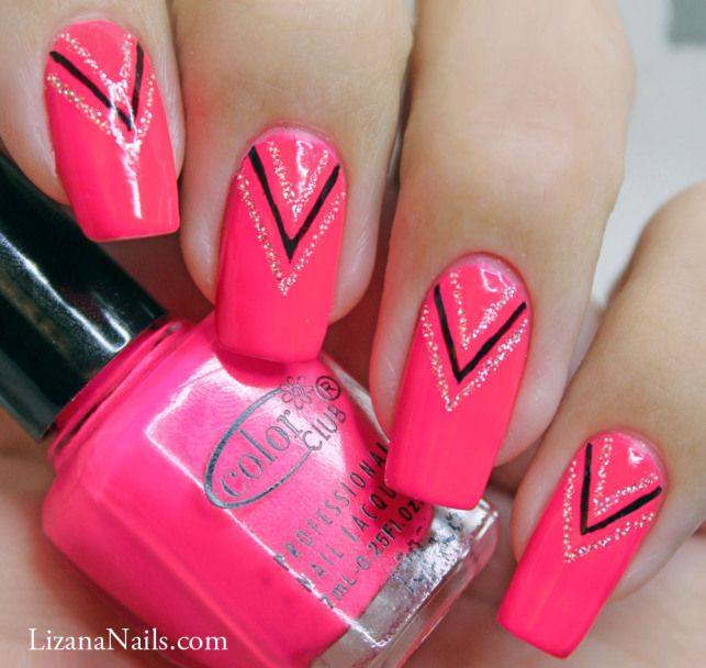 nail art pink neon 3 by lizananails on deviantart. Black Bedroom Furniture Sets. Home Design Ideas