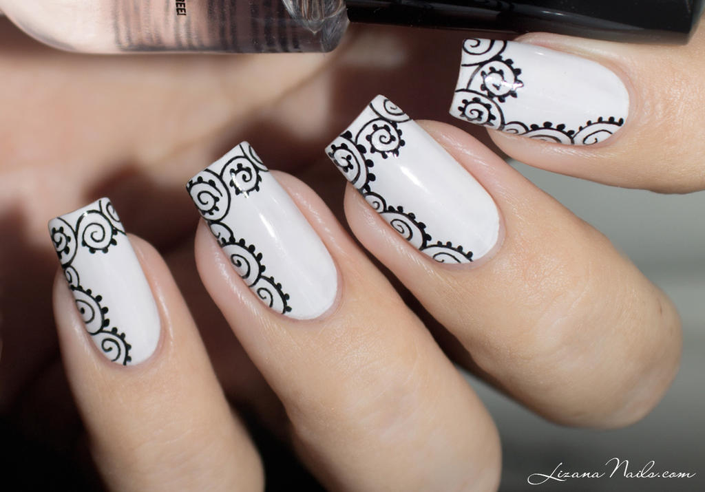 Black and white Nail Art by Lizananails on DeviantArt