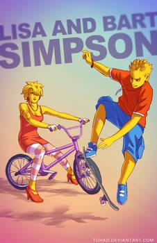 Lisa and Bart Simpson BADASS by Tohad