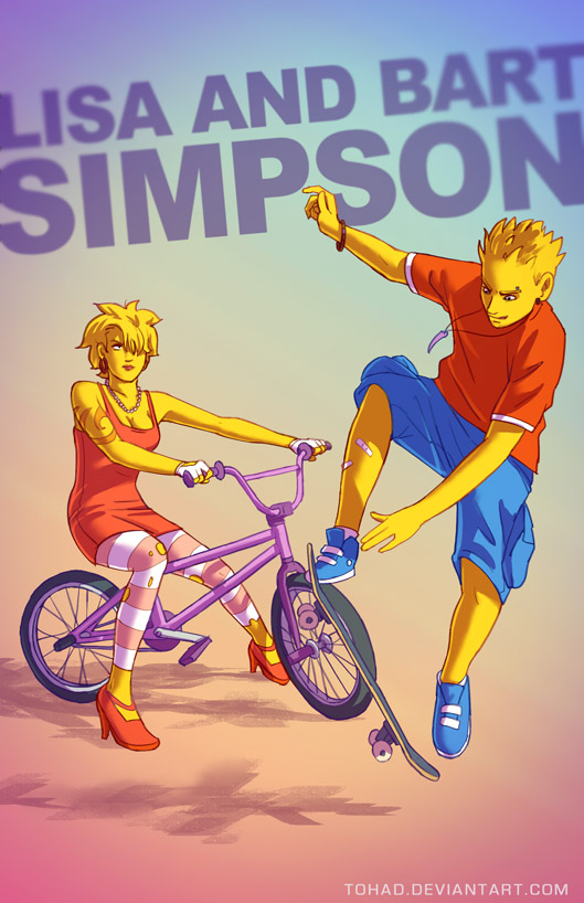 Lisa and Bart Simpson BADASS by Tohad