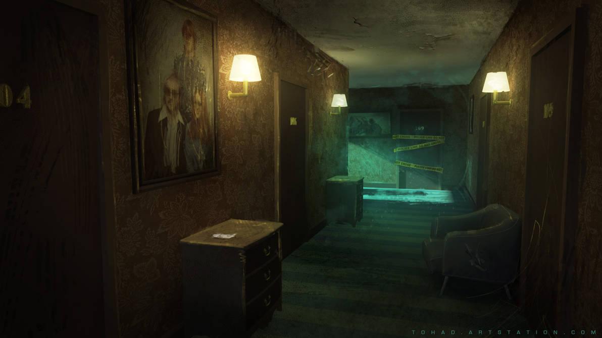 Dark Days : motel interior environment by Tohad