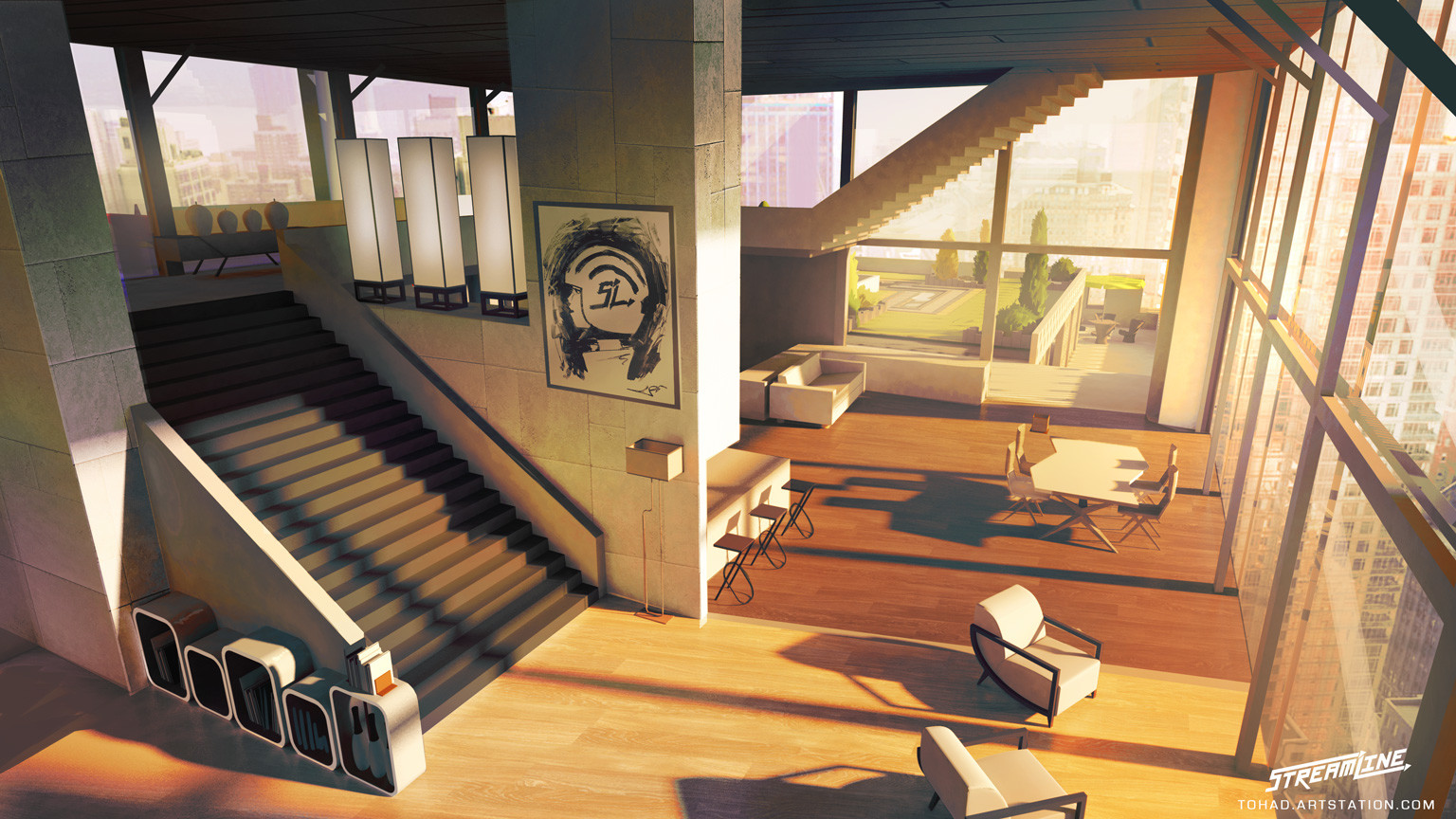 Streamline concept art high rise lounge by tohad on for Streamline luxury suites