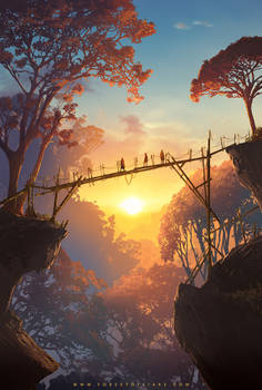 Forest of Liars : Sunset on the wood bridge