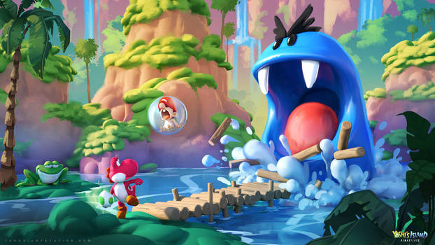 Yoshi's Island Remastered concept art : the swamps