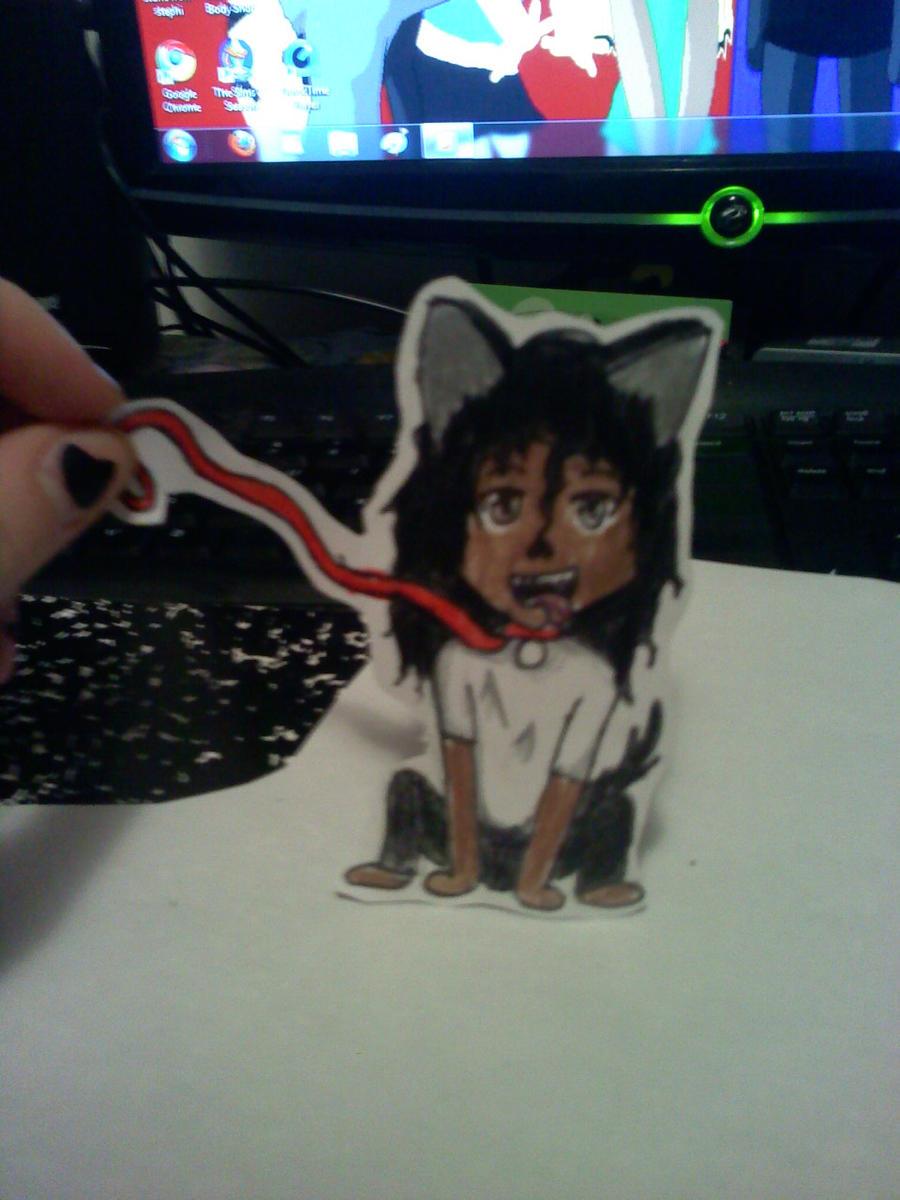 mj paperchild on his dog leash by Dark7Priestess7Kikyo