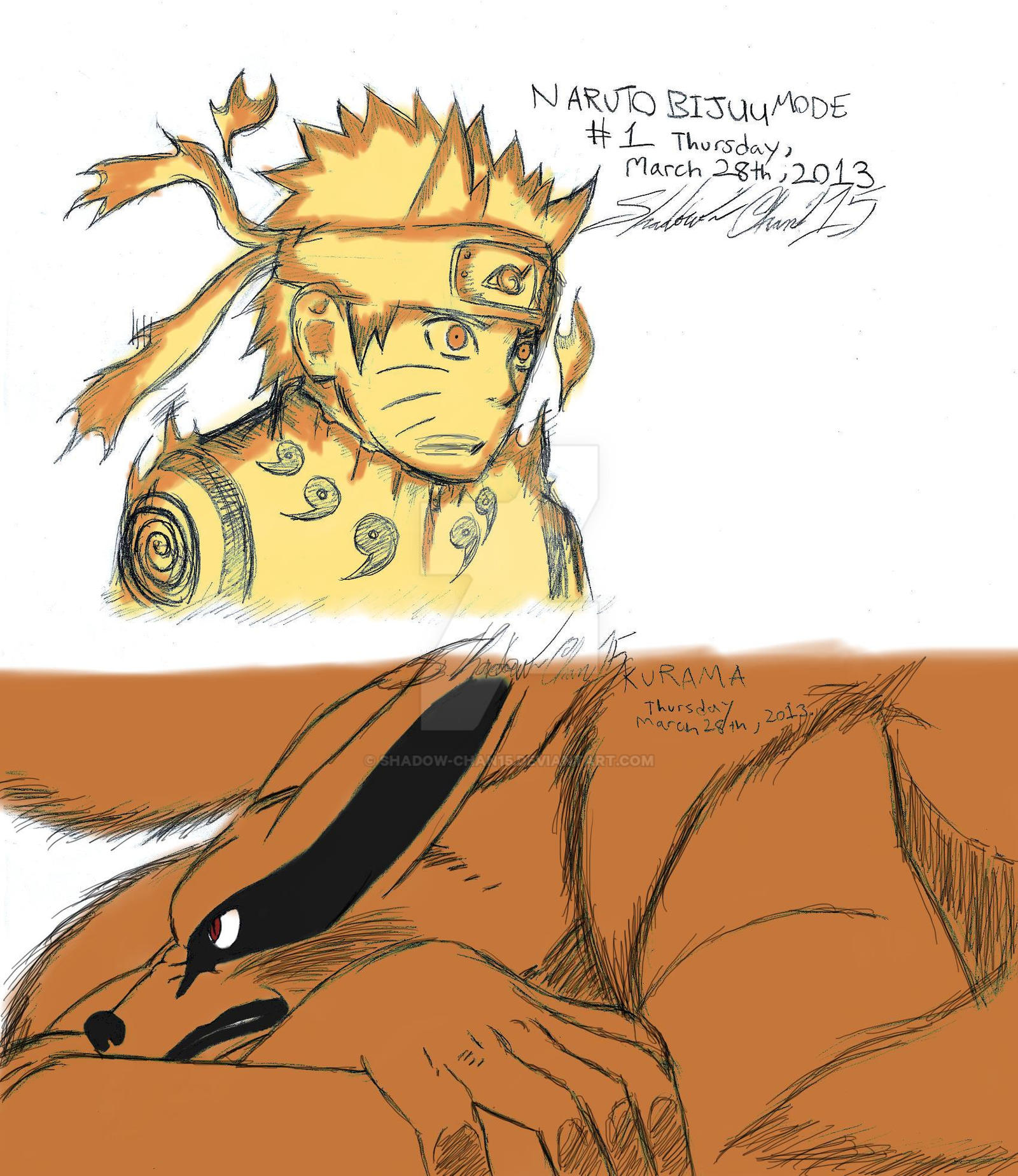 Naruto Kurama Mode Wallpapers Group 67: Naruto Bijuu Mode And Kurama Colored By Shadow-chan15 On