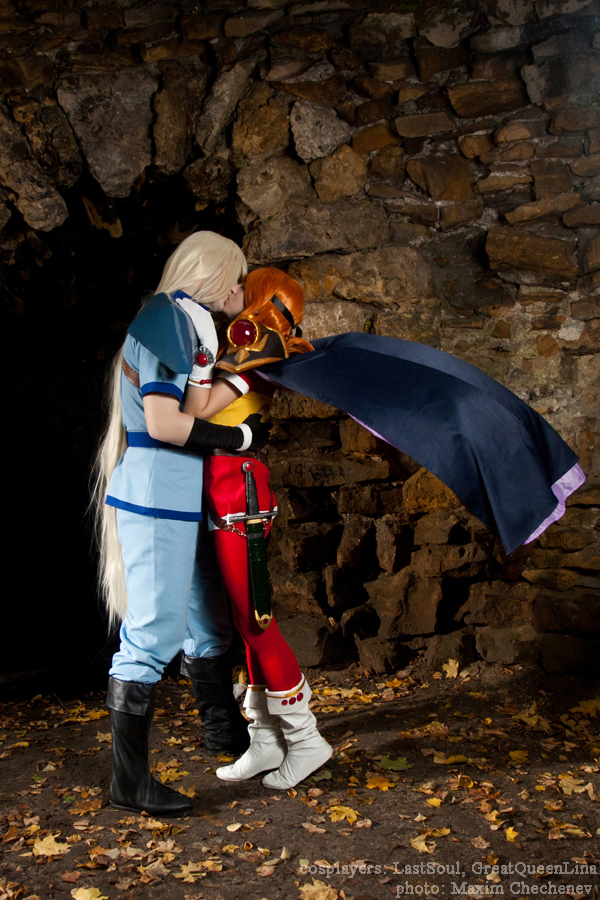 Lina and Gourry kiss by GreatQueenLina