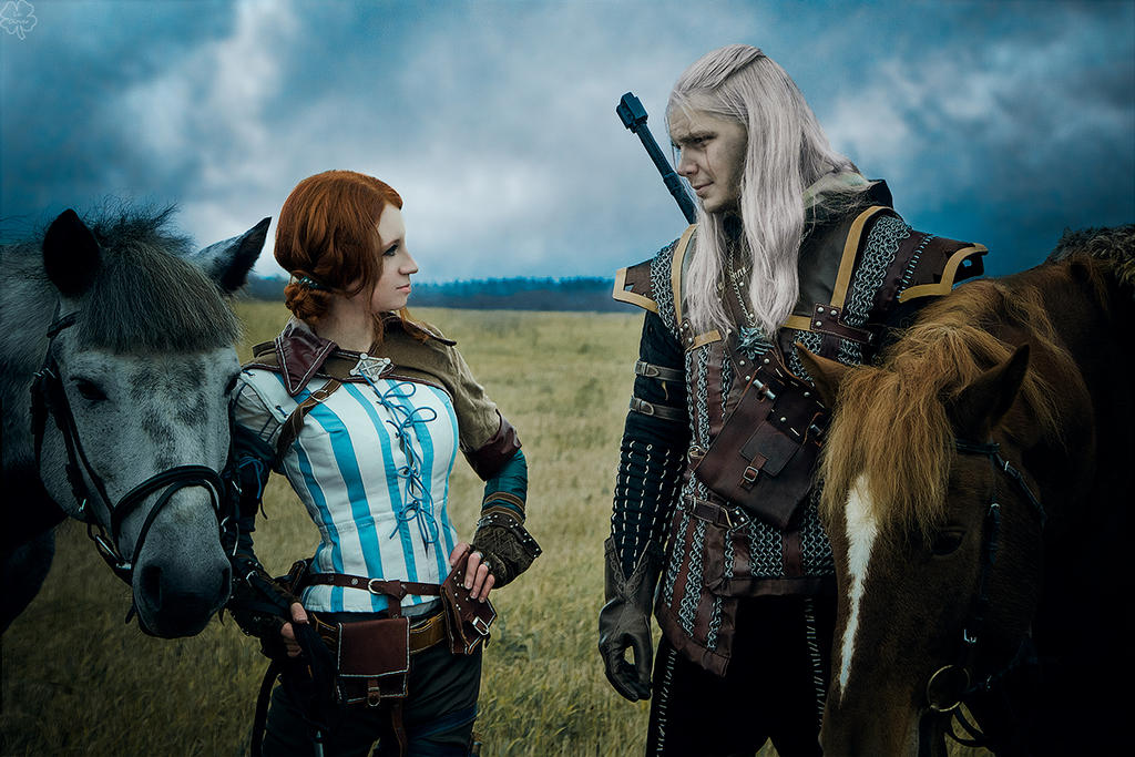 The Witcher 2 cosplay - Geralt of Rivia, Triss_2 by GreatQueenLina