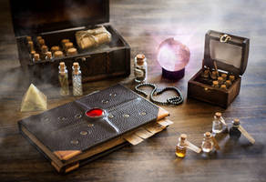 Spellbook and magic potions