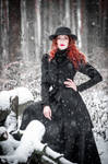Fire in snowy forest_2