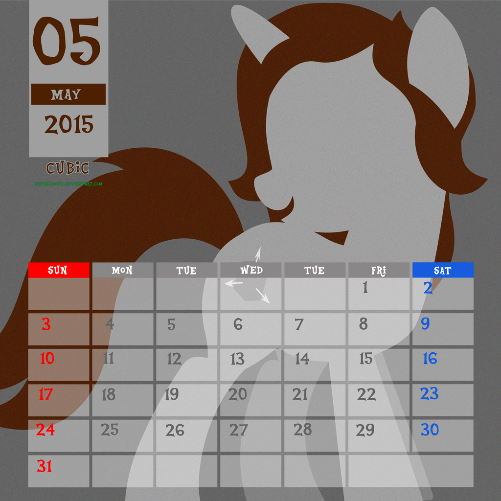 OC Calendar 2015 : May - Cubic by LimeDreaming on DeviantArt