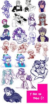 fanart sketch dump ~ jojo, persona, gundam, +