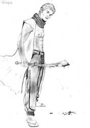 Shane, drawing 10 - Warrior by Awesom-O-5000