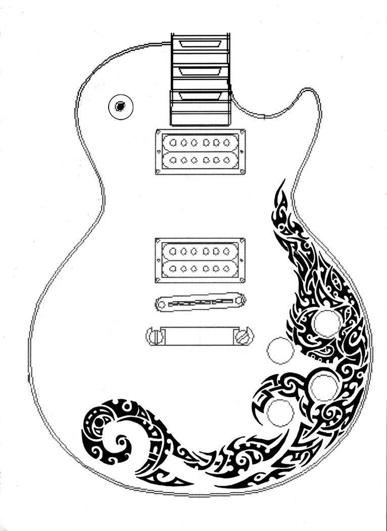 les paul guitar tribal design by annikki